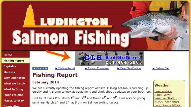 Ludington salmon fishing banner ads for Ludington fishing report